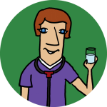 A physician holding a glass of water on a green background