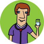 A physician holding a glass of water on a lime background