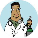 A physician standing in a coat holding an oxygen tank on a blue background