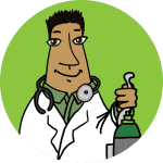 A physician standing in a coat holding an oxygen tank on a lime background