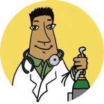 A physician standing in a coat holding an oxygen tank on a yellow background