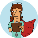 Woman in a blue circle and red cape writing on a clipboard wearing a stethoscope