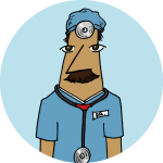 A mustached physician in a blue circle