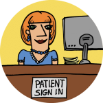 Drawing of a receptionist sitting at a desk reading patient sign in, on a green circle