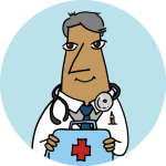 A physician in a white coat holding a first aid kit on a cyan background.