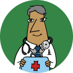 A physician in a white coat holding a first aid kit on a green background.