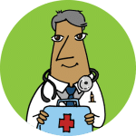 A physician in a white coat holding a first aid kit on a lime background.
