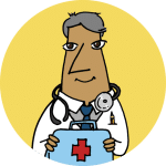 A physician in a white coat holding a first aid kit on a yellow background.