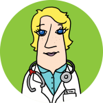 An illustration of a physician in a white overcoat on a lime background.