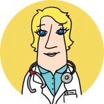 An illustration of a physician in a white overcoat on a yellow background.
