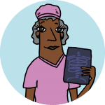 An illustration physician in pink scrubs holding an x-ray. Standing on a cyan background.