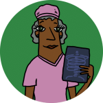 An illustration physician in pink scrubs holding an x-ray. Standing on a green background.