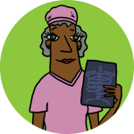 An illustration physician in pink scrubs holding an x-ray. Standing on a lime background.