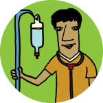A physician wearing a stethoscope and holding an IV drip with a lime background.