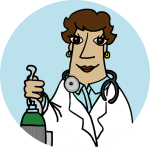 A physician illustration holding an oxygen tank and smiling. Standing with a blue background behind her.