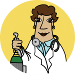 A physician illustration holding an oxygen tank and smiling. Standing with a yellow background behind her.