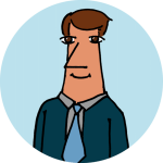 A drawing of a man in a suit on a cyan circle