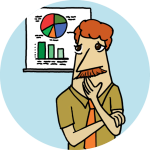A drawing of a man looking concerningly at a chart, with a cyan background