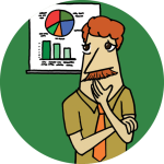 A drawing of a man looking concerningly at a chart, with a green background
